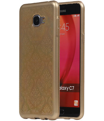 Goud Brocant TPU back case cover hoesje voor Samsung Galaxy C7
