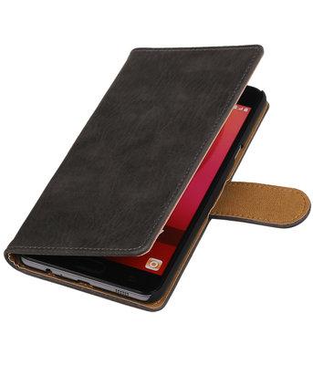 Grijs Hout booktype wallet cover voor Hoesje voor Samsung Galaxy C7