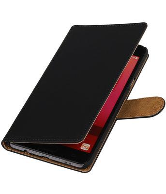 Zwart Effen booktype wallet cover voor Hoesje voor Samsung Galaxy C7