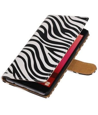 Zebra booktype wallet cover voor Hoesje voor Samsung Galaxy C7