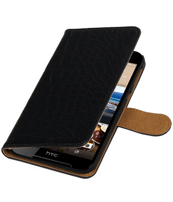 Zwart Krokodil booktype wallet cover voor Hoesje voor HTC Desire 830