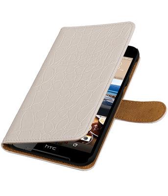 Wit Krokodil booktype wallet cover voor Hoesje voor HTC Desire 830