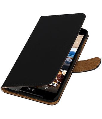 Zwart Effen booktype wallet cover voor Hoesje voor HTC Desire 830