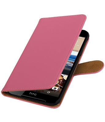 Roze Effen booktype wallet cover voor Hoesje voor HTC Desire 830