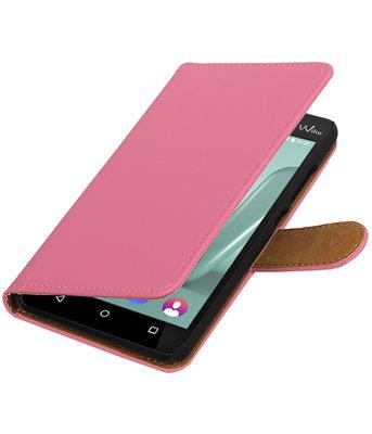 Roze Effen booktype wallet cover voor Hoesje voor Wiko Lenny 3