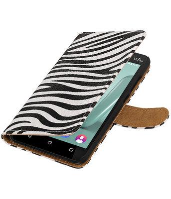Zebra booktype wallet cover voor Hoesje voor Wiko Lenny 3