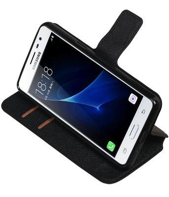 Zwart Hoesje voor Samsung Galaxy J3 Pro TPU wallet case booktype HM Book