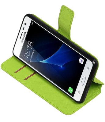Groen Hoesje voor Samsung Galaxy J3 Pro TPU wallet case booktype HM Book