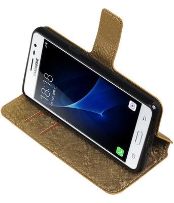Goud Hoesje voor Samsung Galaxy J3 Pro TPU wallet case booktype HM Book