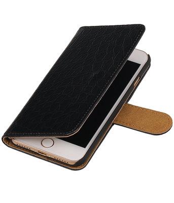 Zwart Krokodil booktype wallet cover hoesje voor Apple iPhone 7 / 8