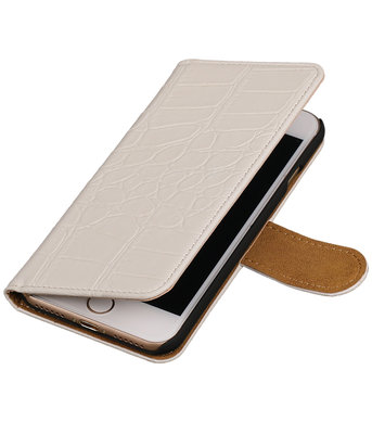 Wit Krokodil booktype wallet cover hoesje voor Apple iPhone 7 / 8