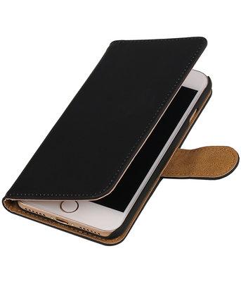 Zwart Effen booktype wallet cover hoesje voor Apple iPhone 7 / 8