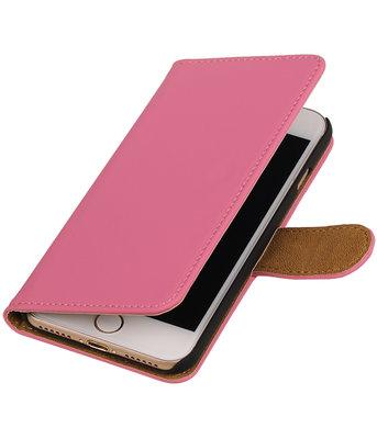 Roze Effen booktype wallet cover hoesje voor Apple iPhone 7 / 8
