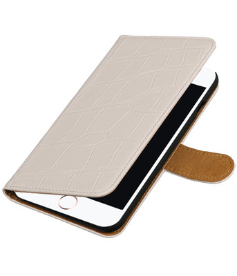 Wit Krokodil booktype wallet cover hoesje voor Apple iPhone 7 Plus / 8 Plus