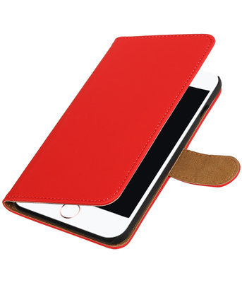 Rood Effen booktype wallet cover hoesje voor Apple iPhone 7 Plus / 8 Plus