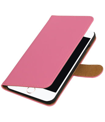 Roze Effen booktype wallet cover hoesje voor Apple iPhone 7 Plus / 8 Plus
