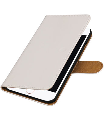 Wit Effen booktype wallet cover hoesje voor Apple iPhone 7 Plus / 8 Plus