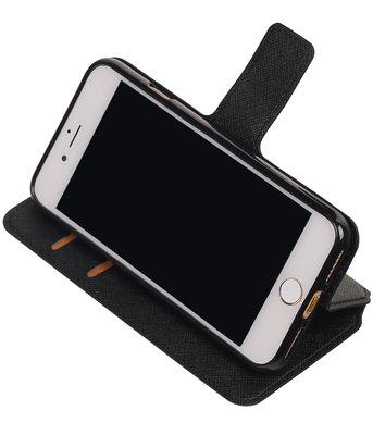 Zwart Hoesje voor Apple iPhone 7 / 8 TPU wallet case booktype HM Book
