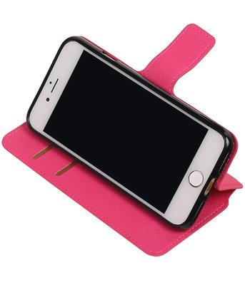 Roze Hoesje voor Apple iPhone 7 / 8 TPU wallet case booktype HM Book