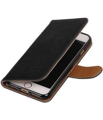 Zwart Pull-Up PU booktype wallet voor Hoesje voor Apple iPhone 7 / 8