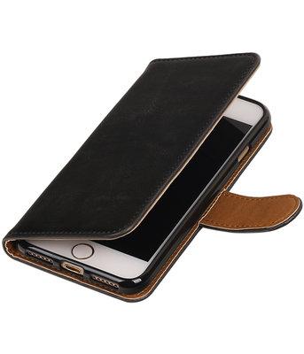 Zwart Pull-Up PU booktype wallet hoesje voor Apple iPhone 7 / 8