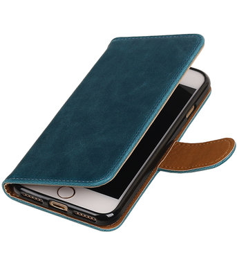 Blauw Pull-Up PU booktype wallet voor Hoesje voor Apple iPhone 7 / 8