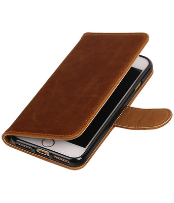 Bruin Pull-Up PU booktype wallet voor Hoesje voor Apple iPhone 7 / 8