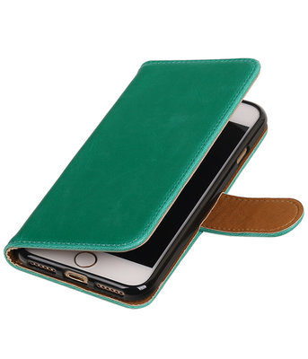 Groen Pull-Up PU booktype wallet voor Hoesje voor Apple iPhone 7 / 8