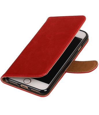 Rood Pull-Up PU booktype wallet voor Hoesje voor Apple iPhone 7 / 8