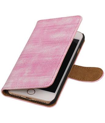 Roze Mini Slang booktype wallet cover hoesje voor Apple iPhone 7 / 8