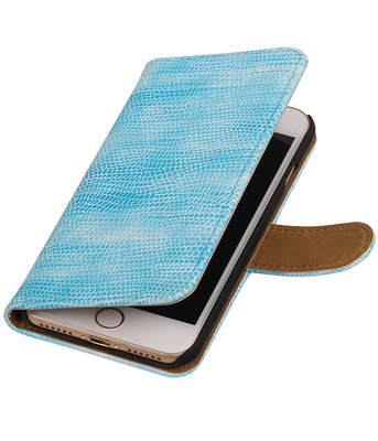 Turquoise Mini Slang booktype wallet cover voor Hoesje voor Apple iPhone 7 / 8