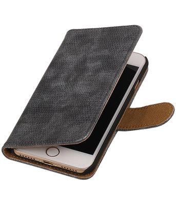 Grijs Mini Slang booktype wallet cover voor Hoesje voor Apple iPhone 7 / 8