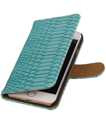 Turquoise Slang booktype wallet cover hoesje voor Apple iPhone 7 / 8
