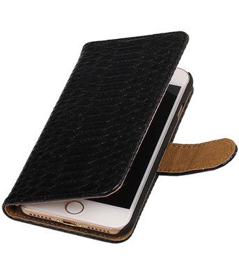 Zwart Slang booktype wallet cover hoesje voor Apple iPhone 7 / 8