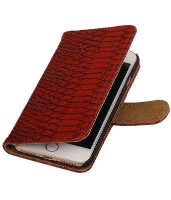 Rood Slang booktype wallet cover voor Hoesje voor Apple iPhone 7 / 8