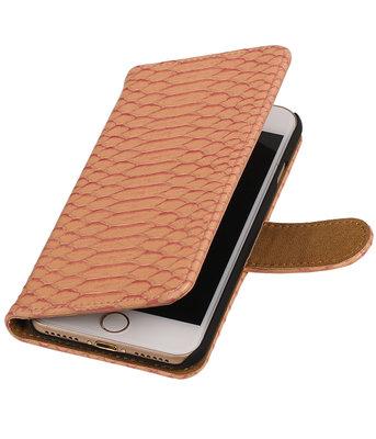 Roze Slang booktype wallet cover hoesje voor Apple iPhone 7 / 8