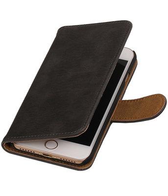 Grijs Hout booktype wallet cover voor Hoesje voor Apple iPhone 7 / 8