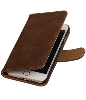 Bruin Hout booktype wallet cover hoesje voor Apple iPhone 7 / 8