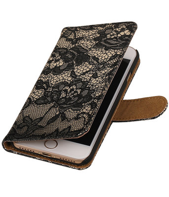 Zwart Lace booktype wallet cover voor Hoesje voor Apple iPhone 7 / 8