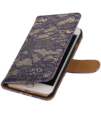 Blauw Lace booktype wallet cover voor Hoesje voor Apple iPhone 7 / 8