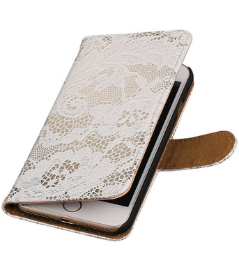Wit Lace booktype wallet cover voor Hoesje voor Apple iPhone 7 / 8