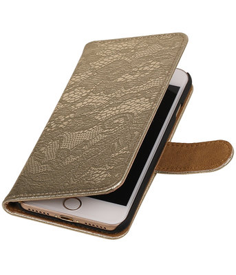 Goud Lace booktype wallet cover voor Hoesje voor Apple iPhone 7 / 8