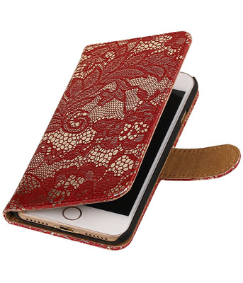 Rood Lace booktype wallet cover voor Hoesje voor Apple iPhone 7 / 8