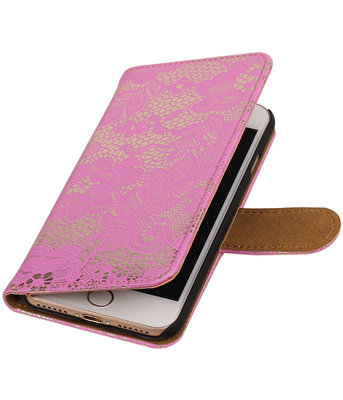 Roze Lace booktype wallet cover voor Hoesje voor Apple iPhone 7 / 8