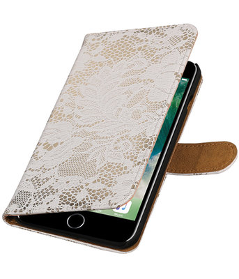 Wit Lace booktype wallet cover voor Hoesje voor Apple iPhone 7 Plus / 8 Plus