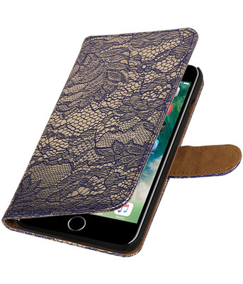 Blauw Lace booktype wallet cover voor Hoesje voor Apple iPhone 7 Plus / 8 Plus