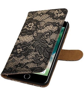 Zwart Lace booktype wallet cover voor Hoesje voor Apple iPhone 7 Plus