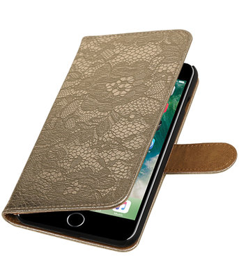 Goud Lace booktype wallet cover hoesje voor Apple iPhone 7 Plus / 8 Plus