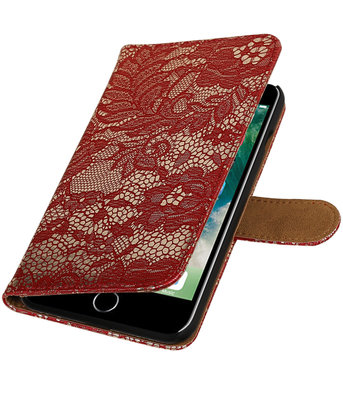 Rood Lace booktype wallet cover voor Hoesje voor Apple iPhone 7 Plus / 8 Plus