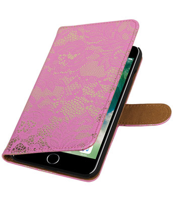 Roze Lace booktype wallet cover voor Hoesje voor Apple iPhone 7 Plus / 8 Plus